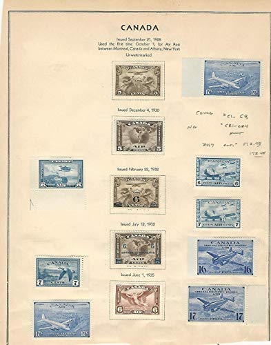 Canada Stamp Collection 1928-35 Airmails, Mint Stuck to Page, C1-9, CE1-4