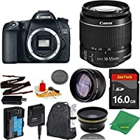 Great Value Bundle for 70D DSLR – 18-55mm STM + 16GB Memory + Wide Angle + Telephoto Lens + Backpack