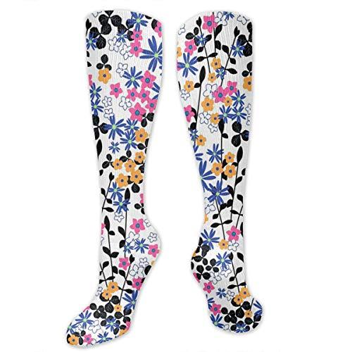 Romantic Naive Flower Ditsy Pattern High Socks Long Socks Boot Stocking Compression Sports Socks For Women Men