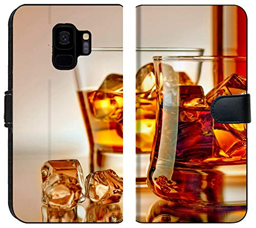 (Samsung Galaxy S9 Flip Fabric Wallet Case Image of Glass ice Whiskey Alcohol Drink Beverage Cold Rum Liquor Liquid Gold Whisky Cocktail Scotch Yellow)