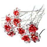 SODIAL(R)10pcs/lot Rose Flower Crystal Rhinestone Wedding Party Bridal Prom Hair Pin Hair Clips Accessory Red