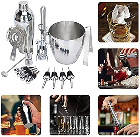 Songway Juego de coctelera de acero inoxidable 16 piezas, cobbler Shaker, cubo de hielo, barro, jigger, pinzas de hielo, sacacorchos, colador, cuchara, vertedores, tapón (550ml)