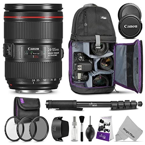 Canon EF 24-105mm f/4L is II USM Lens w/Advanced Photo and Travel Bundle - Includes: Altura Photo Sling Backpack, Monopod, UV-CPL-ND4, Camera Cleaning Set