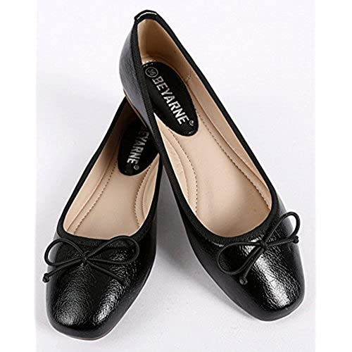 56e7ed5bb09b durable modeling Sfnld Women s Elegant Square Toe Low Cut Bow Slip On  Ballet Flats Shoes