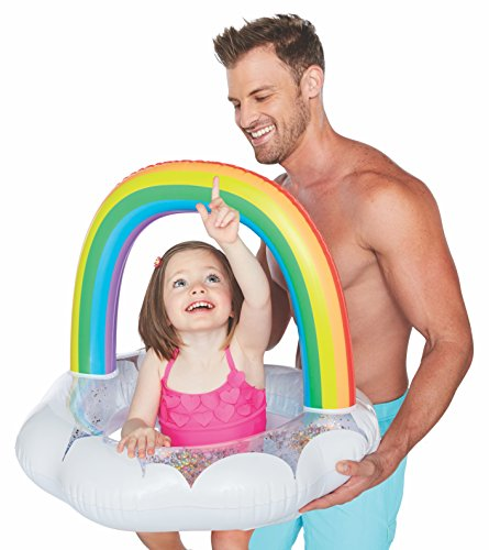 BigMouth Inc Happy Rainbow Lil Water Float with Glitter Inside - Pool Float for Infants and Kids Ages 1-3, Perfect for Beginner Swimmers, Easy to Inflate and Durable