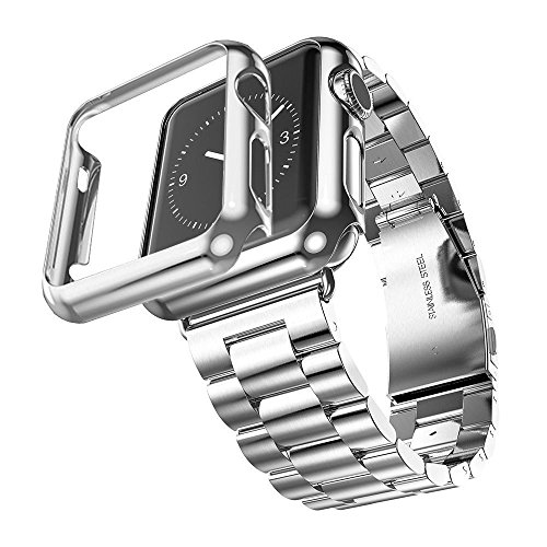 (Huanlong Compatible with Apple Watch Band Series 1/2/3/4, Stainless Steel Strap Band w/Adapter+Case Cover Compatible for iWatch 38/40/42/44mm (H Silver 44mm))