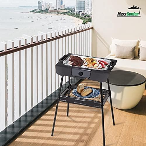 MaxxGarden Barbecue électrique, multifonctionnel, avec support, 2000W, aucune fumée, couleur noire