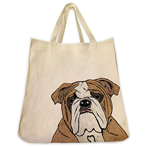 English Bulldog Tote Bags   Over 200 Different Breed And Animal Designs To Choose From   Extra Large 100  Cotton Over The Shoulder Handbags   Painted By Hand And Printed In The U S A