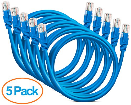 Aurum Cables Cat6 Snagless Snagless Network Ethernet Patch Cable 5 Pack- with Cable Ties-15 Feet - Blue