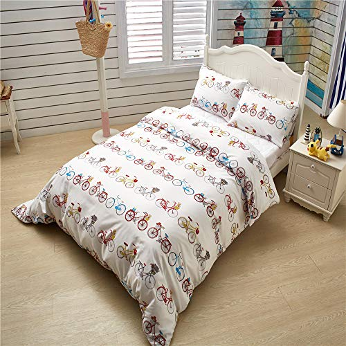 (Erosebridal 3 pcs Bicycle Pattern Bedding Set for Kids Bicycle Boys Girls Sports Theme Pattern Duvet Cover Set Cute Cartoon Comforter/Quilt Cover Children Decorative Twin Size Bedding Collections)