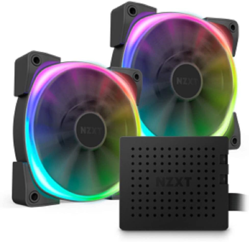 NZXT AER RGB V2-140mm Advanced LED RGB PWM Fan - Fluid Dynamic Bearing - Software Integrated Lighting Customizations - Two RGB Lighting Channels - Fan with Controller Bundle