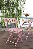 PHI VILLA 3 Piece Pink Patio Steel Folding Table