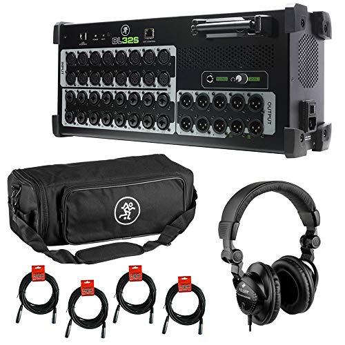 Mackie DL32S 32-Channel Wireless Live Sound Mixer with Mackie DL32S Digital Mixer Bag, Polsen HPC-A30 Headphones & (4) XLR Cable Bundle
