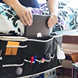Bedside Caddy Hanging Storage / Organizer with Laptop Space – 12 Pockets Perfect for College Dorm Room and Bunk Bed – Large Size Holds Your Laptop, Books, Tablet, Phone, Water Bottle, and More