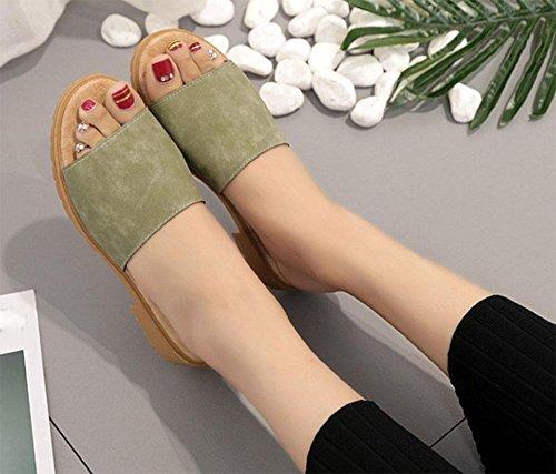 Pantoffeln Sandalen Wort green Xia rutschfeste offen vorne und Schuhe Frau flache Pantoffeln minimalistische Fräulein Schuhe suede ziehen Ji w1P0Pqz
