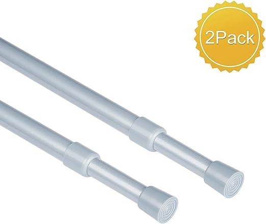 2pcs Tension Curtain Rod Spring Load Adjustable Curtain Pole Heavy-Duty Steel