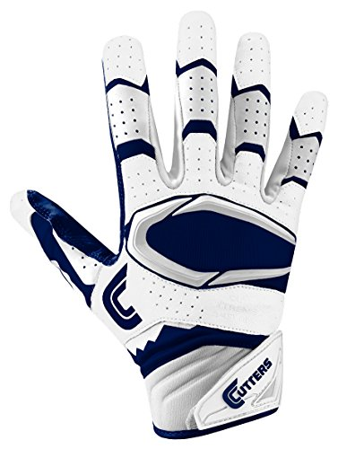 Cutters Gloves Rev Pro 2.0 Receiver Football Gloves, White/Navy, Large Cutters Football Receiver Glove