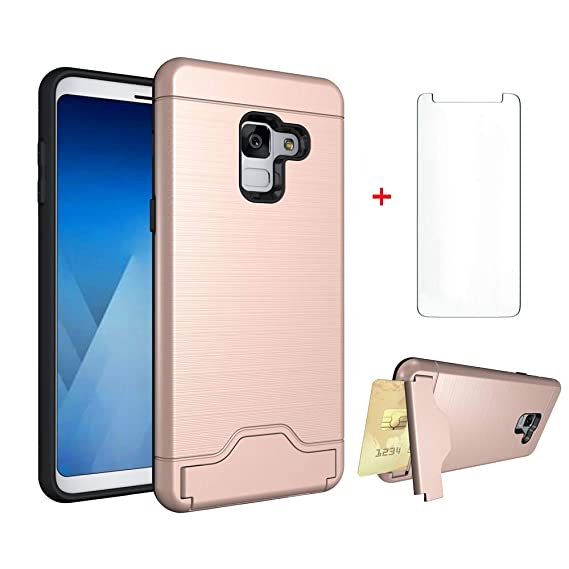 premium selection 86195 f6bea Samsung Galaxy A8 2018 Wallet Phone Case Women Girls Slim Silicone  Protective Heavy Duty Hard Cover with Tempered Glass Screen Protector  Credit Card ...