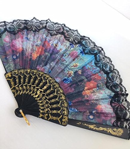 Chinese Red Peonies flower pattern Lace trim Handheld Folding Fan for girl and women, Black frame