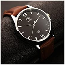 LinTimes Fashion Simple Mens Watch Quartz Analog Business Casual Wristwatch Brown Band Black Dial