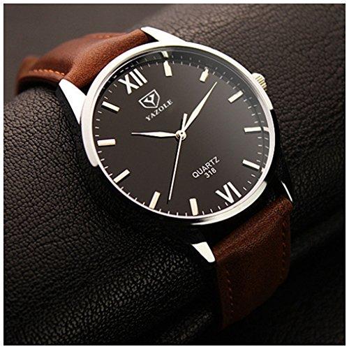 [LinTimes Fashion Simple Mens Watch Quartz Analog Business Casual Wristwatch Brown Band Black Dial] (Brown Shark Watch)