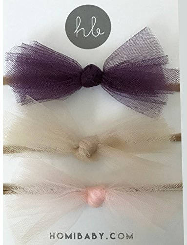 3 Pack Ballerina Bow Set by Homi Baby - Hand Tied in the USA - Includes 3 Bows in Pack - Plum, Desert Tan, and Baby Blush (Nylon Headband, Plum, Desert Tan, and Baby Blush)