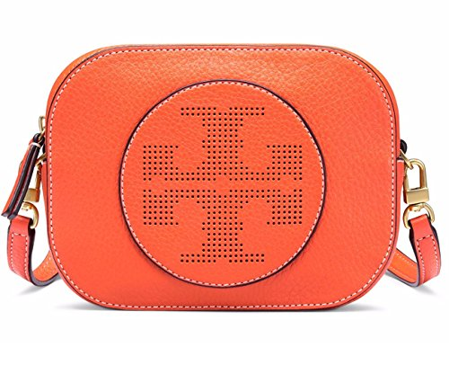 Tory Burch Logo Perforated Leather Crossbody (Spiced - Tory Burch Logo