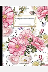 Composition Notebook: Wide Ruled Lined Paper Notebook Journal: Watercolor Pink Roses Workbook for Boys Girls Kids Teens Students for Back to School and Home College Writing Notes Paperback