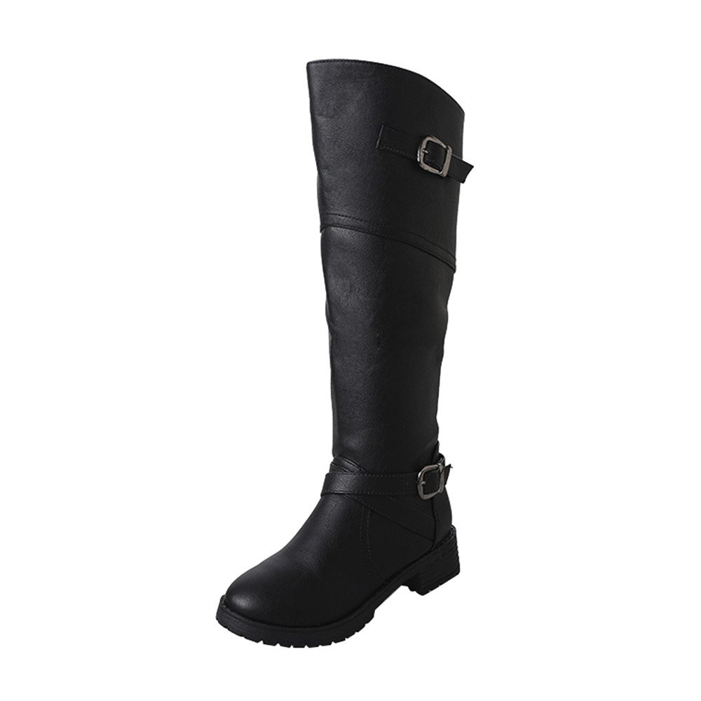 LIM&Shop ⭐ Women Side Zipper Knee High Riding Boot for Lady Fashion Low Heel Boot Wide Calf Booties Side Zipper Fashion Black by LIM&SHOP-Sandals & Sneakers