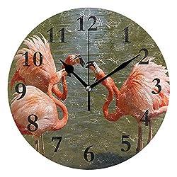 NMCEO Round Wall Clock Three Flamingo Acrylic Original Clock for Home Decor Creative