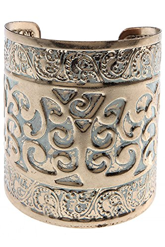 KARMAS CANVAS THICK SCROLL WORK CUFF BRACELET (Gold/White)