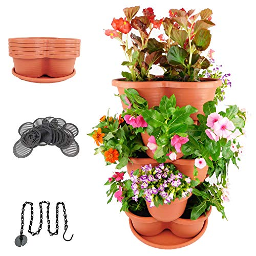 Amazing Creation Stackable Planter Vertical Garden for Growing Strawberries, Herbs, Flowers, Vegetables and Succulents| Indoor/Outdoor 5 Tier Gardening Tower| Hanging Planter (Terracotta)
