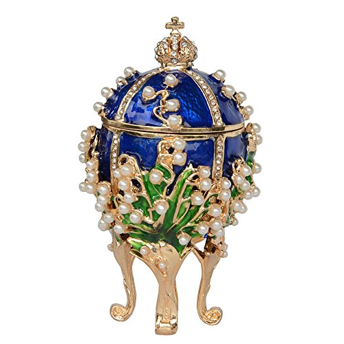Russian Faberge Style Egg Crystal Jeweled Trinket Jewelry Ring Holder Box (Easter Egg#2)