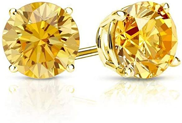 1.50 ct Round Brilliant Cut Brown Diamond Stud Earrings in 14k 585 Yellow Gold Brilliant Cut Bezel Setting Screw Back