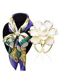 Elegant Gold Tone Enamel Flower with Pearl Scarves Clip Scarf Buckle Brooch
