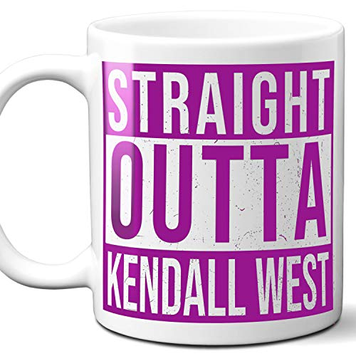 Straight Outta Kendall West USA Souvenir Mug Gift. Love City Town Lover Coffee Unique Cup Men Women Birthday Mothers Day Fathers Day Christmas. Purple. 11 oz. (Comforter Set Kendall)