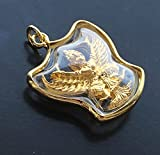 Amulets Pendant Thai Garuda King of Birds Power Charm Protect Lucky Success Thai Buddha Gold Crystal Mini Pendant, Good Luck and Protection