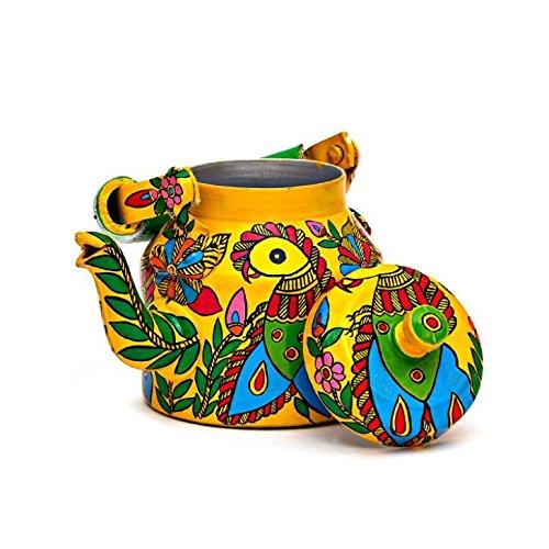 Indian Traditional Hand Painted Tea Kettle Tea Pot Steel Par