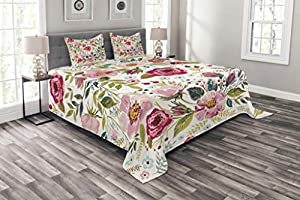 Lunarable Floral Bedspread Set Queen Size, Shabby Chic Flowers Roses Petals Dots Leaves Buds Spring Season Theme Image Artwork, Decorative Quilted 3 Piece Coverlet Set with 2 Pillow Shams, Multicolor