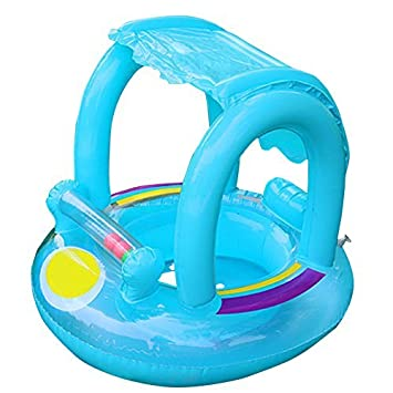belupai Baby Swimming Float with Inflatable Sunshade Canopy ...