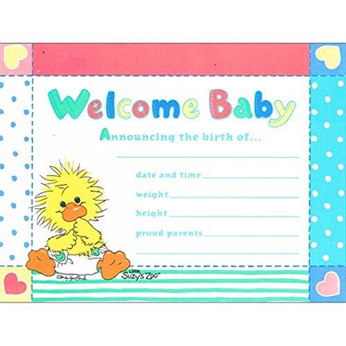 (Little Suzy's Zoo Vintage Birth Announcements w/ Envelopes (8ct))