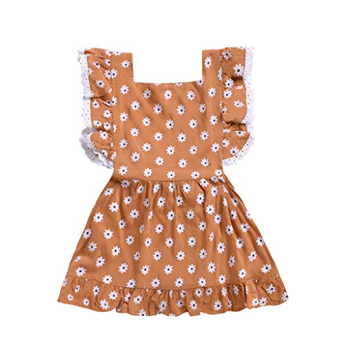 Backless Dress for Girls,Infant Baby Girl Kids Loose Strap Sleeveless Solid Colors Beach Dress Clothing,Girls' Dance Apparel,Navy,18-26M by Dsood (Image #1)