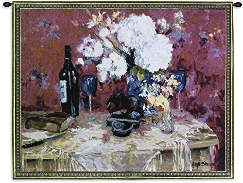 White Roses with Wine by Allayn Stevens | Woven Tapestry Wall Art Hanging | Contemporary Floral Wine Still Life | 100% Cotton USA Size 53x40