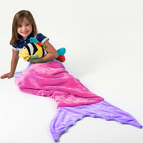 Corlay Mermaid Tail With Pocket Ultra Soft Plush Teen Child Kids Blanket, All Ages, Mermaid Pink (Little Mermaid Kids Costume)