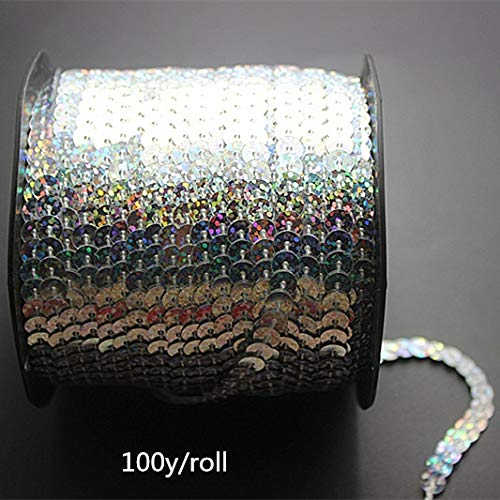 Jienie 100Y/Roll Laser Silver 6mm Sequin Trim Sewing Strings Round Sequins in Roll for DIY Crafts Making