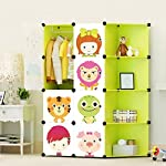 ULWHome Green Cute Cartoon Portable Clothes Closet Wardrobe Storage Organizer with Corner for kids , large space and sturdy construction for Children, 8-Cube (Green
