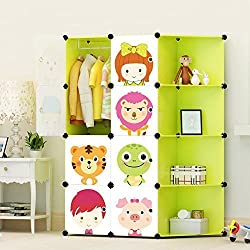 ULWHome Green Cute Cartoon Portable Clothes Closet Wardrobe Storage Organizer with Corner for kids, large space and sturdy construction for Children, 8-Cube (Green)