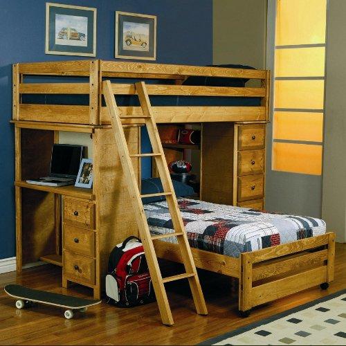 FenchBarney Jadeen Amber Wash Solid Wood Twin Over Twin Loft Bunk Bed with  Desk
