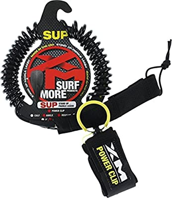 Surf More XM Stand-Up Paddle SUP Power-Clip Coiled Regular Black Ankle Leash - 9'