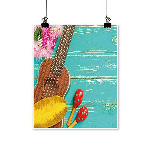 Artwork for Living Room Decorations Ukulele with Hawaii Style Background on Canvas Wall Art for Home,24